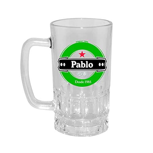 Kembilove Jarra de Cerveza Personalizada y grabada con el nombre – Regalos Originales para Cumpleaños – Modelo Heineken