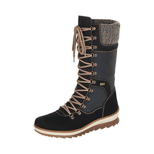 Remonte Damen Stiefel, Frauen Winterstiefel,remonteTEX, Winter-Boots schnürstiefel gefüttert warm weiblich,Schwarz(schwarz),37 EU / 4 UK