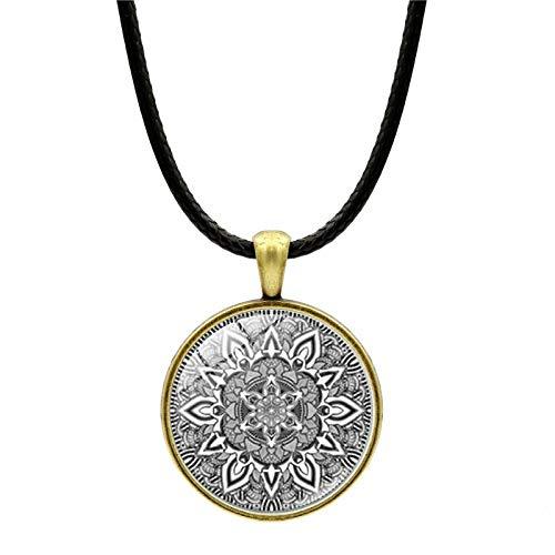 Alushisland Collar De Gemas De Tiempo De Mandala Joyería Colgante De Cuerda De Cuero Europea Y Americana Creativa