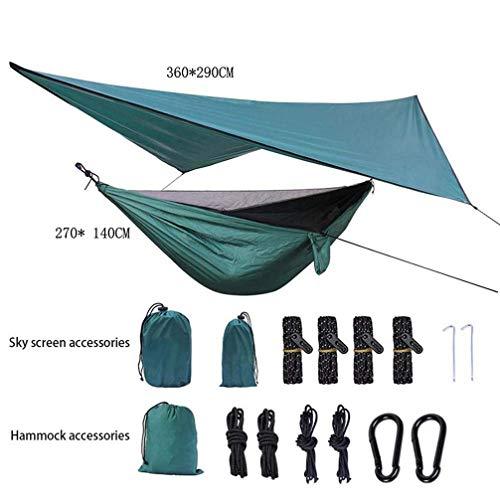 Jbsceen Camping Hamac avec Moustiquaire et Bâche de Tente Anti Pluie, Durable Compact Suspendus Parachute Nylon Tissu Hamac Camping pour l'extérieur randonnée Voyage Pêche Field de Survie