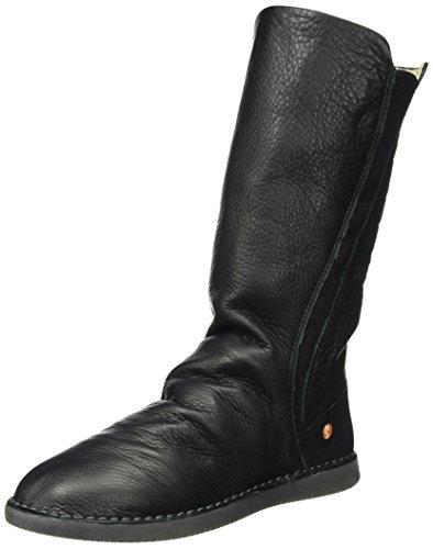 Softinos Damen TEYA328SOF Smooth Leather Schlupfstiefel, Schwarz (Black), 38 EU