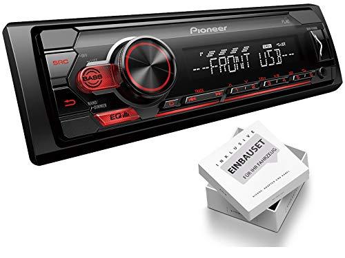 Pioneer MVH-S110UB 1-DIN autoradio Shortbody USB AUX geschikt voor Audi A6 Avant Facelift 2001-2005 zwart met OEM 2DIN niet voor Bose