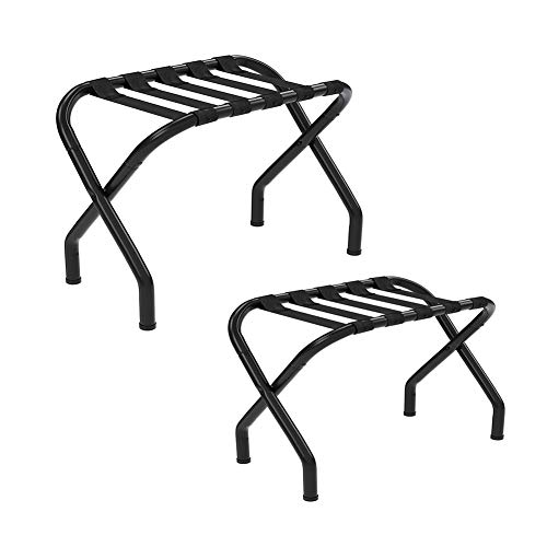 Read About BAIYING Luggage Rack Chrome Metal Luggage Rack Bedroom Nylon Bandage Foldable Suitcase Ra...