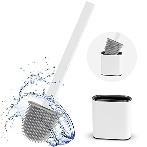 Escobillas WC Escobilla de Baño Silicona y Soporte para Inodoro Soporte de Secado Rápido en Suelo o Montaje en Pared con Mango Antideslizante y Cerdas Flexibles para Inodoro de BañO