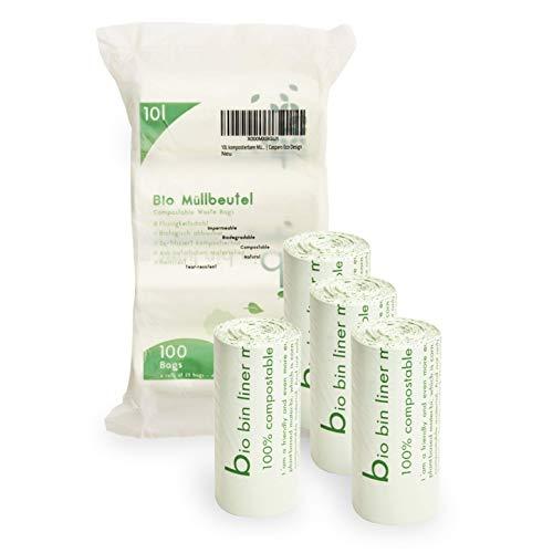 Plantvibes ® Bolsas de Basura compostables 100 Bolsas de Basura orgánicas, 100% Biodegradable (10L)