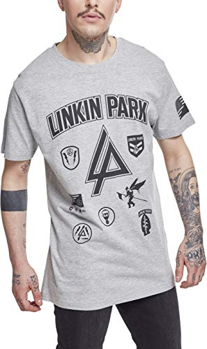 MERCHCODE Linkin Park - Camiseta para Hombre, diseño con Logo y Texto en inglés, Hombre, Camiseta, MC149, Gris, Medium