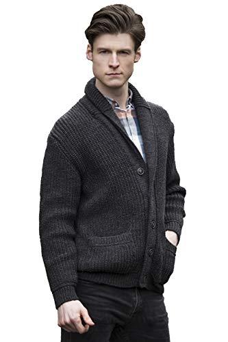 Aran Crafts Men's Irish Cable Knitted Ribbed Shawl Cardigan (SH4627-SM-CHAR) Charcoal