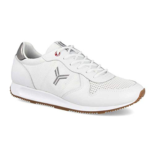 Zapatilla Sneaker Yumas Dublin Blanco Fabricado en Piel Serraje y nilon Plantilla Confort Latex para Hombre