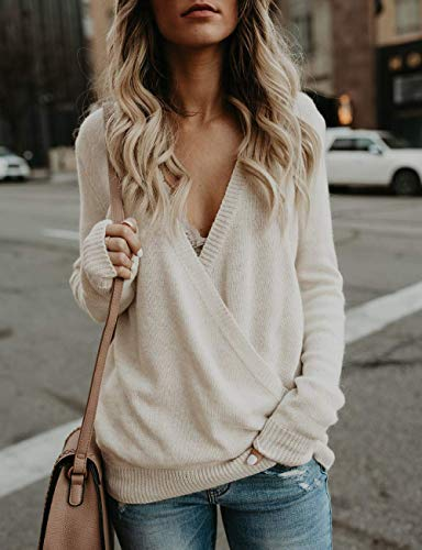 Womens Tops Long Sleeve Knitted Sweater Deep V Neck Wrap Front Tops for Women Slouchy Sweaters Jumpers for Women Beige XL