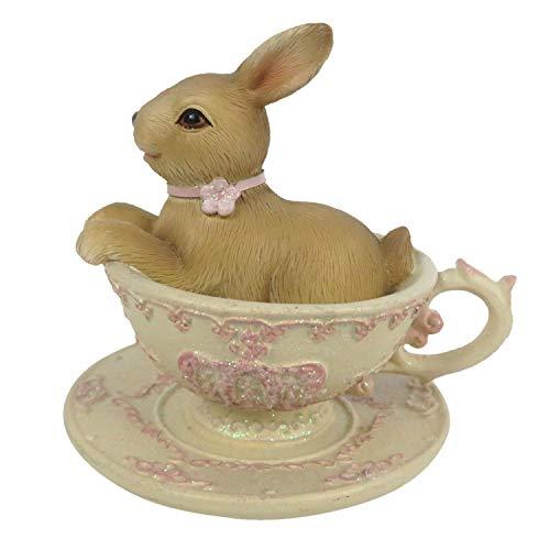 Coniglietto pasquale tazza rosa coniglietto pasquale Shabby Chic Vintage decorazione 8 cm