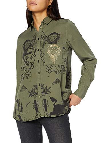 Desigual CAM_LIONSLOVE Camisa, Verde, S para Mujer