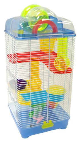 YML 3-Level Clear Plastic Dwarf Hamster Mice Cage with Ball on Top, Blue