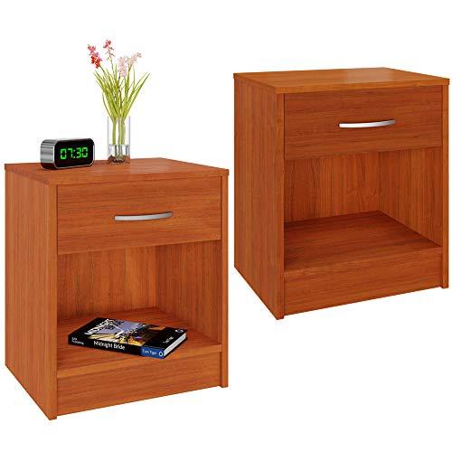 Deuba Set de 2 mesitas de noche con cajón Marrón 50x40x35 cm mesa auxiliar para libros dormitorio