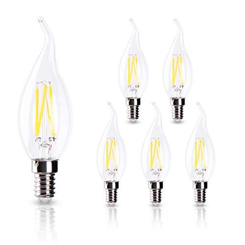 ELINKUME E14 LED Kerzenbirnen LED Filament 6W Lampe Warmweiß 3000K Klar Glas 600Lumen 6er Pack