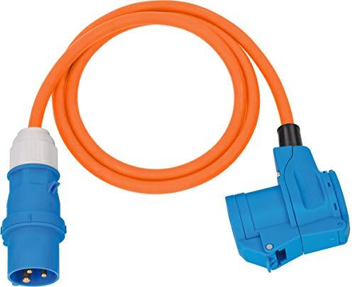 Brennenstuhl Camping CEE-Adapterleitung mit CEE-Stecker und Winkelkupplung inkl. Schutzkontakt-Kombisteckdose (1,5m Kabel in orange, 230V/16A, Einsatz im Außenbereich, Made in Germany)
