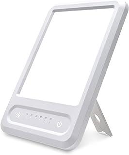 Happy Light SAD - Lámpara de terapia de luz solar natural de 10000 Lux con temporizador con 3 niveles de brillo ajustables, espectro LED sin UV, control táctil, color blanco