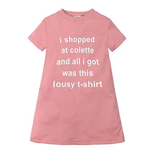 Janly Clearance Sale Vestido para niñas de 0 a 10 años de edad, vestido de princesa, camiseta casual, rosa, 12 a 24 meses