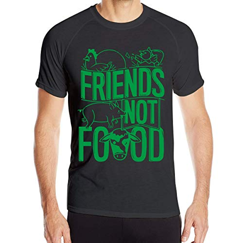 Animals Are Friends Not Food Vegans Camiseta de Manga Corta para Hombre de Secado rápido Running Fitness Shirts