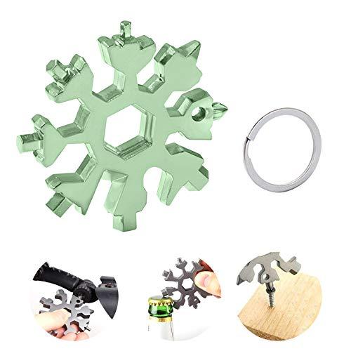Gxhong Schneeflocke Multi-Tool, 18-in-1 Edelstahl Schneeflocken Multifunktionswerkzeug, Portable Schlüsselbund Schraubendreher Flaschenöffner 2020 Weihnachtsgeschenke für Männer (Grün)