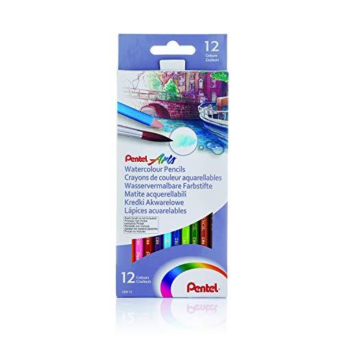 Pentel - Estuche con 12 lápices de madera acuarelables.