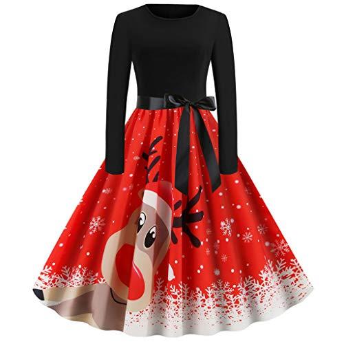 Robe de cocktail élégante pour femme - Rétro - Imprimé renne et élan - Robe plissée - Style années 50 - Col rond - Manches longues - Taille haute - Robe de soirée - Robe de Noël - Rouge - XL