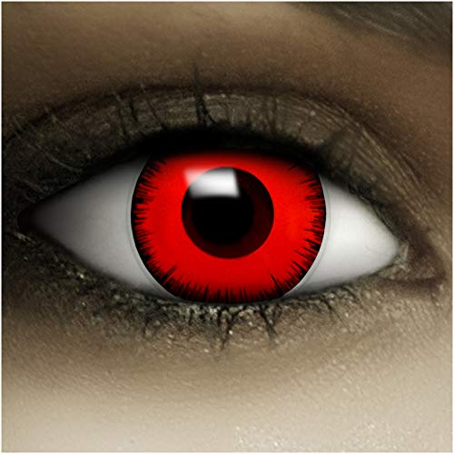 Farbige rote Kontaktlinsen ohne Stärke Volturi Vampir + Kunstblut Kapseln + Kontaktlinsenbehälter, weich ohne Sehstaerke in rot und schwarz, 1 Paar Linsen (2 Stück)