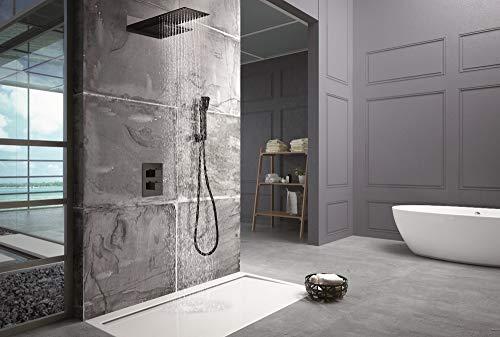 Conjunto de ducha termostática empotrada Imex Rodas Negro GTR049-NG