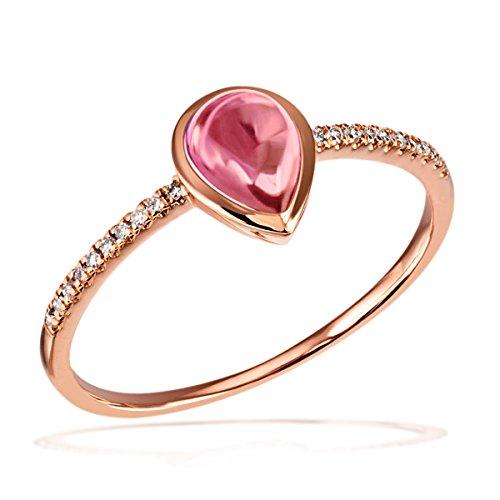 Goldmaid Damen-Ring Turmalin 585 Rotgold Turmaline pink Tropfenschliff Diamant (0.07 ct) Gr. 54 (17.2)-Fa R7322RG54 Verlobungsring Diamantring