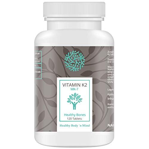 Healthy Body 'n Mind - Vitamina K2 MK-7 Menachinone-7, formato ad alto dosaggio 200 mcg, 120 compresse
