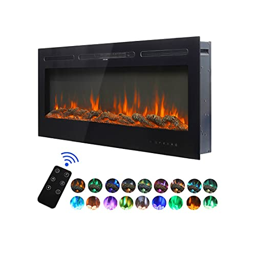 DKIEI Electric Fireplace Wall Mounted Insert Electric Fire with Remote Control, 9 Colours Flame,900W/ 1800W Heater with Timer 1524x140x544mm