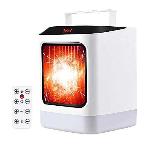 TOPmountain Calefactor con mando a distancia y temporizador, calefactor eléctrico de 2 niveles, 1000 W, silencioso, para cuarto de baño, lugar de trabajo, escritorio, salón, oficina