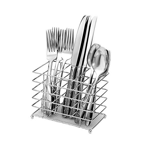 Oneida Eve 12-Piece Flatware Set with Countertop Caddy, Service for 4,Silver