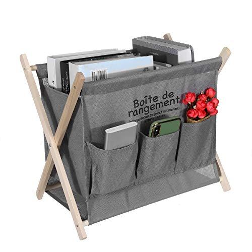 Robasiom zusammenklappbarer Zeitschriftenständer aus Holz mit großer Kapazität, tragbarer Zeitungsständer mit Seitentaschen