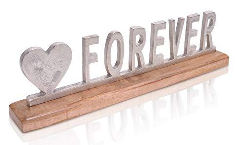 Chiccie decoratieve belettering Forever op mangohout - 50 cm van metaal met harthouder