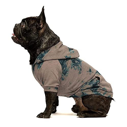 Fitwarm Tie Dye Dog Hoodie Puppy Sweatshirt Pocket Doggie Winter Clothes Sweatshirt Pet Hooded Coat Cat Jackets Apparel Medium