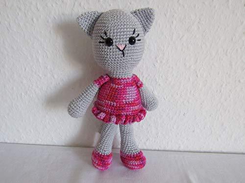 Kuscheltier Katze gehäkelt, Katze mit Kleid, Ballerina