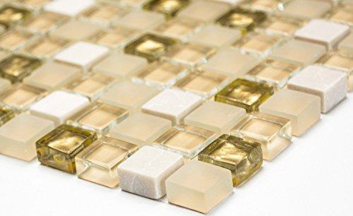 Mosaik-Netzwerk Quadrat Crystal/Stein mix weiß matt/gold Glas Naturstein Fliesenspiegel, Mosaikstein Format: 15x15x8 mm, Bogengröße: 60 x 100 mm, 1 Handmuster ca. 6x10 cm