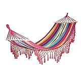 XIAOQIU Hamaca 2 Personas Lienzo para Acampar Al Aire Libre Hamaca Curva Palillo de Madera Estable Hamak Jardín Columpio Silla Colgante Hangmat Azul Rojo Camping