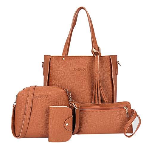 Monllack - Set di 4 pezzi, in morbida pelle sintetica di poliuretano di grande capacità, borsa a tracolla, borsa a tracolla, borsa a portafoglio, borsa per carte di credito, colore: marrone