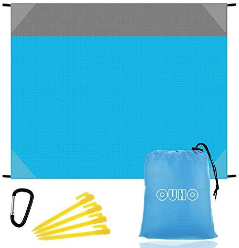 OUHO Coperta da Spiaggia 145x190cm Tappetino da Picnic Anti Sabbia Portatile Impermeabile con Reticule e 4 Picchetti Fixed per Picnic Spiaggia Viaggi Escursionismo