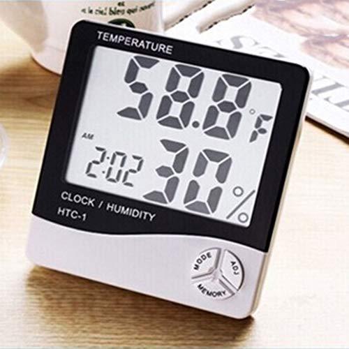 beautijiam Digitaler Temperatur-Feuchtigkeits-Innenmonitor, Genaues Hygrometer-Raumthermometer-Messgerät Mit Wecker - LCD-Anzeige Für Home-Office-Komfort