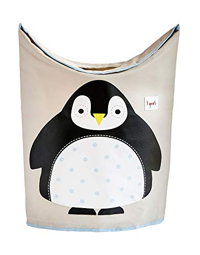3 Sprouts Baby Laundry Hamper Storage Basket Organizer Bin for Nursery Clothes, Penguin