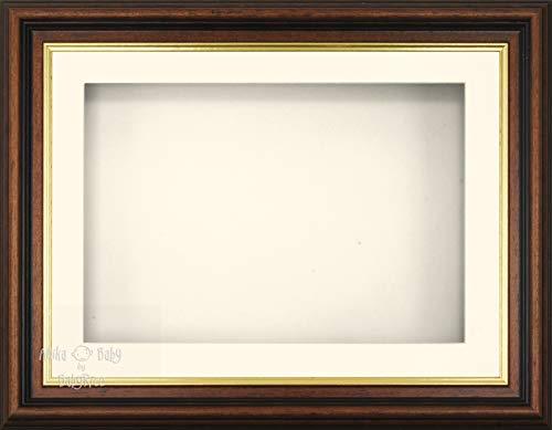 Anika-Baby 29,2 x 21,6 cm Acajou Doré Effet 3d Cadre d'écran/1 trou Passe-partout crème