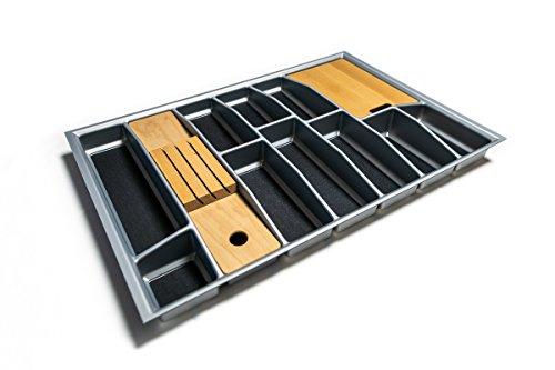Besteckkasten für 80er Schublade inkl. Messerblock und Schneidebrett | Besteckeinsatz mit Antirutschboden | Einsetzbar auch in 90er/ 100er/ 120er Schublade | Maße wählbar (silber, 705 mm x 462 mm)
