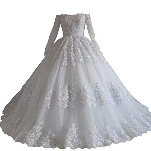 Princess Wedding Bridal Dresses with Illusion Long Sleves Off Shoulders Lace Ivory 18