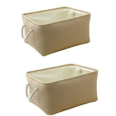 TheWarmHome Decorative Storage Bins|Storage Boxes for Shelves| Fabric Storage Bin for Cloth Storage(Beige, 2 Pack)