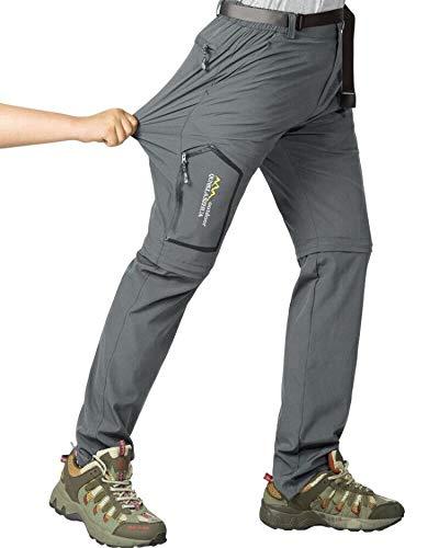 Jessie Kidden - Pantalones de senderismo para hombre, de secado rápido, convertibles, ligeros, con cremallera, para pesca, viajes, montaña, Hombre, color gris oscuro, tamaño 30