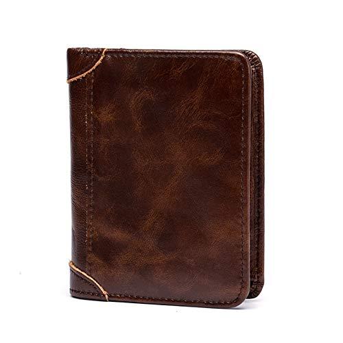 QIANHEDAMAI Mannen Korte Echte Lederen Portemonnee Zakelijke Stijlvolle Multi-Card Verticale Wax Papier Mannelijke Eenvoudige Handtas Vintage Casual Geld Tas