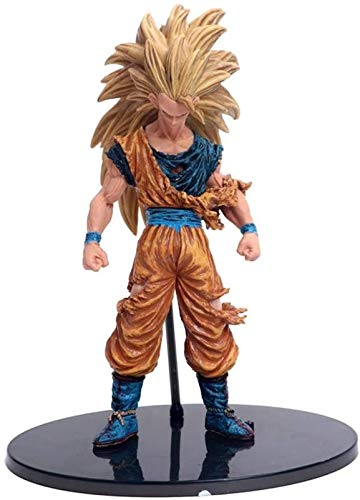 RTUTUR Dragon Ball Super Saiyan 3 Comic Son Goku Budokai Battle Damaged Edition Action Figure Animated Character Model Statue, for Gifts and Home Office Decoration