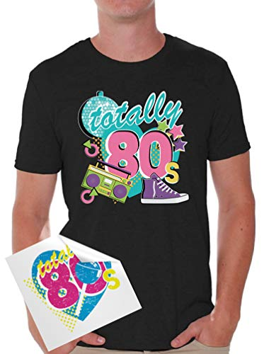 Awkward Styles 80s Shirts 80s Tshirts 80s Accessories for Men 80s Party Disco + Sticker Gift Black 2XL